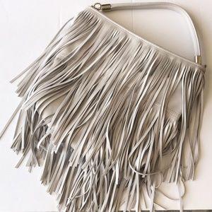 H&M Light Grey Fringe Crossbody Shoulder Bag